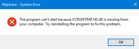 Vcruntime140.dll missing error