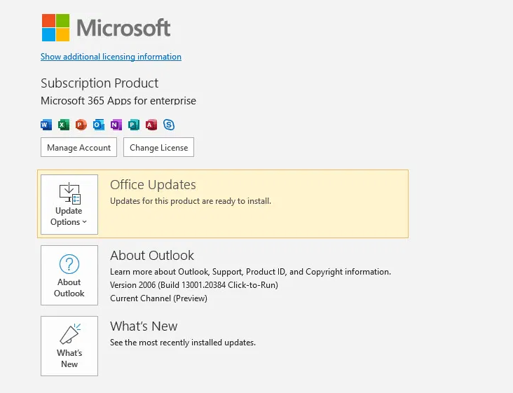 Update Microsoft Outlook